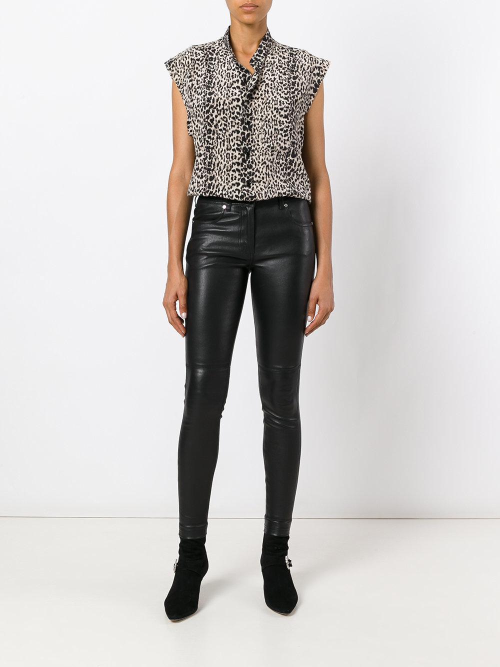 615eb03b Lyst - Saint Laurent Leopard Print Sleeveless Shirt in Black