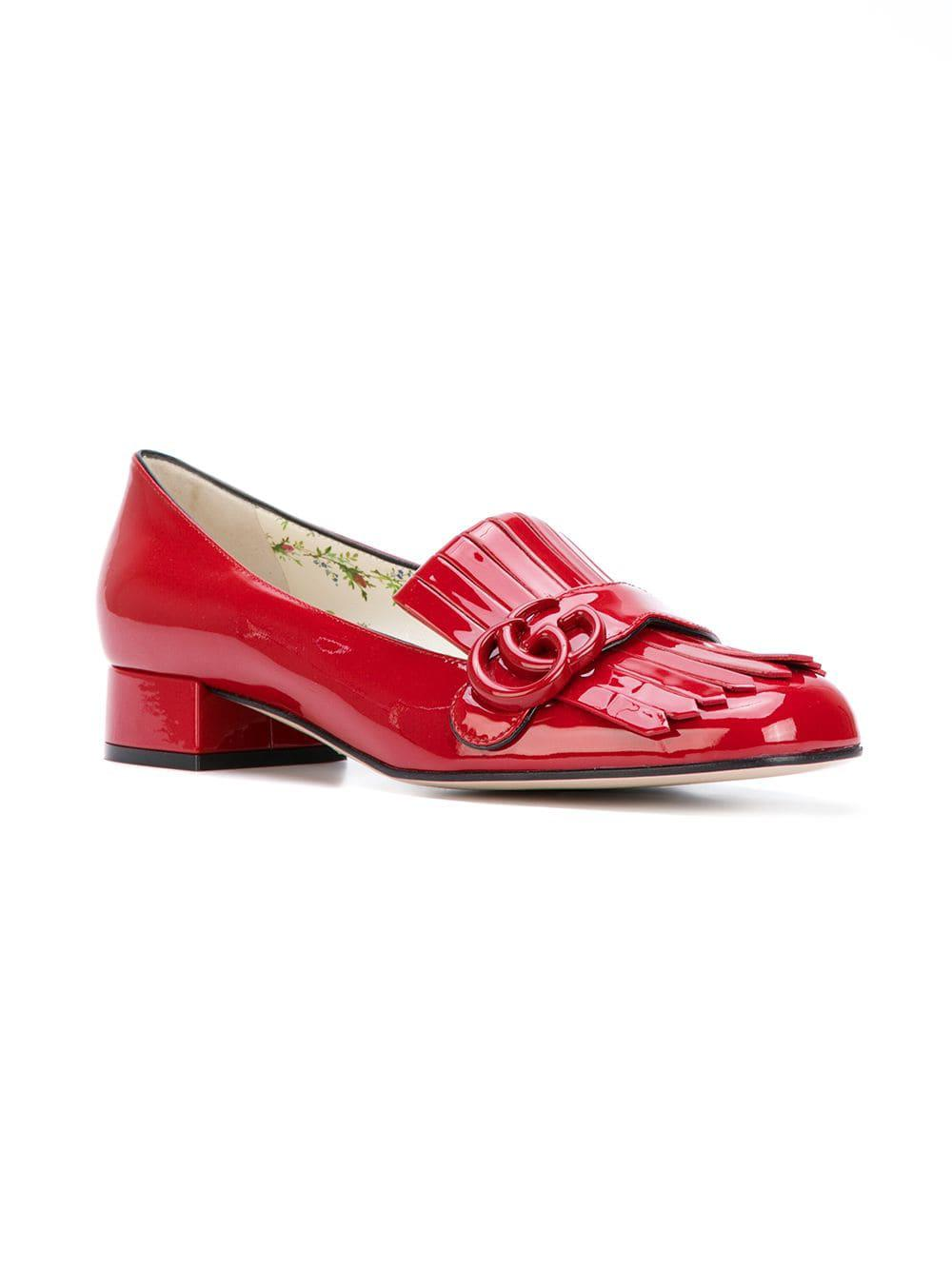 3eca38b7463 Lyst - Gucci Marmont Loafers in Red