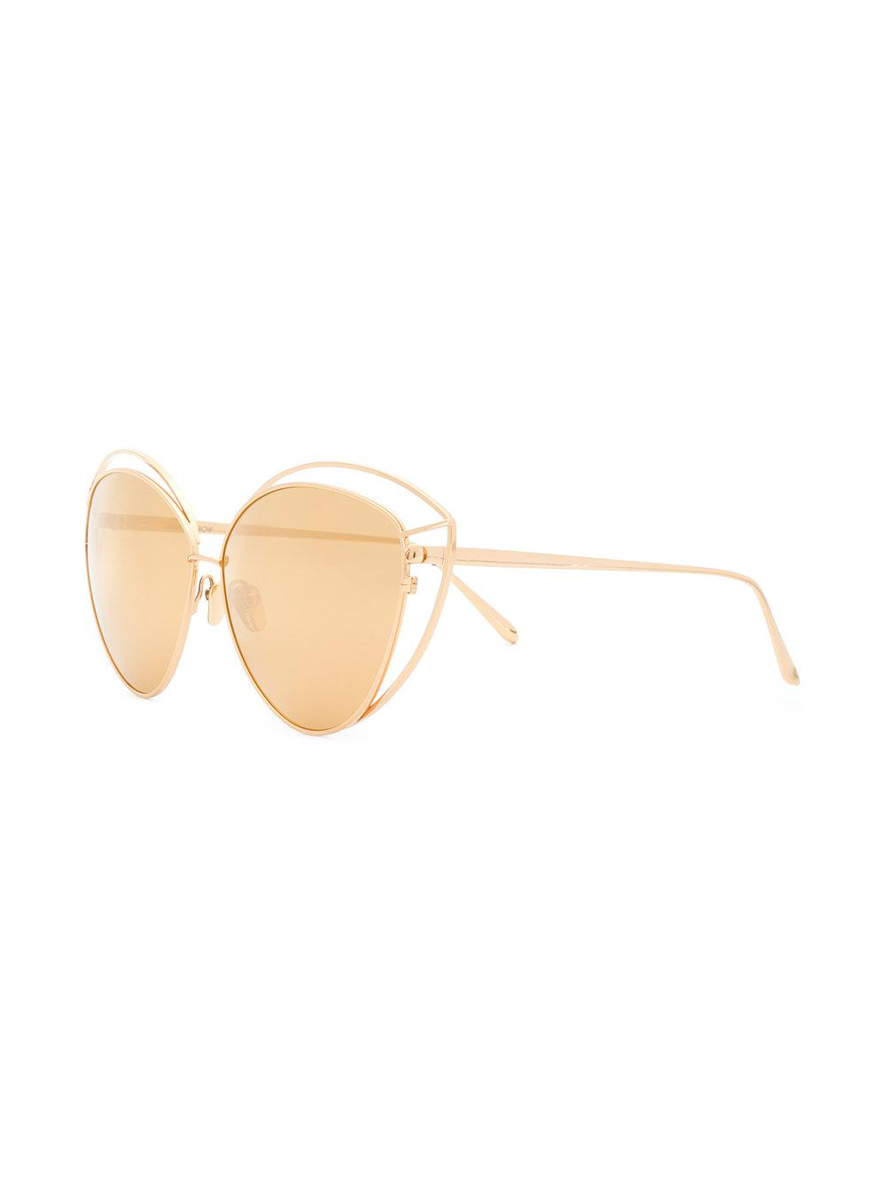 Linda Farrow Cat Eye Cutout Frame Sunglasses in Metallic