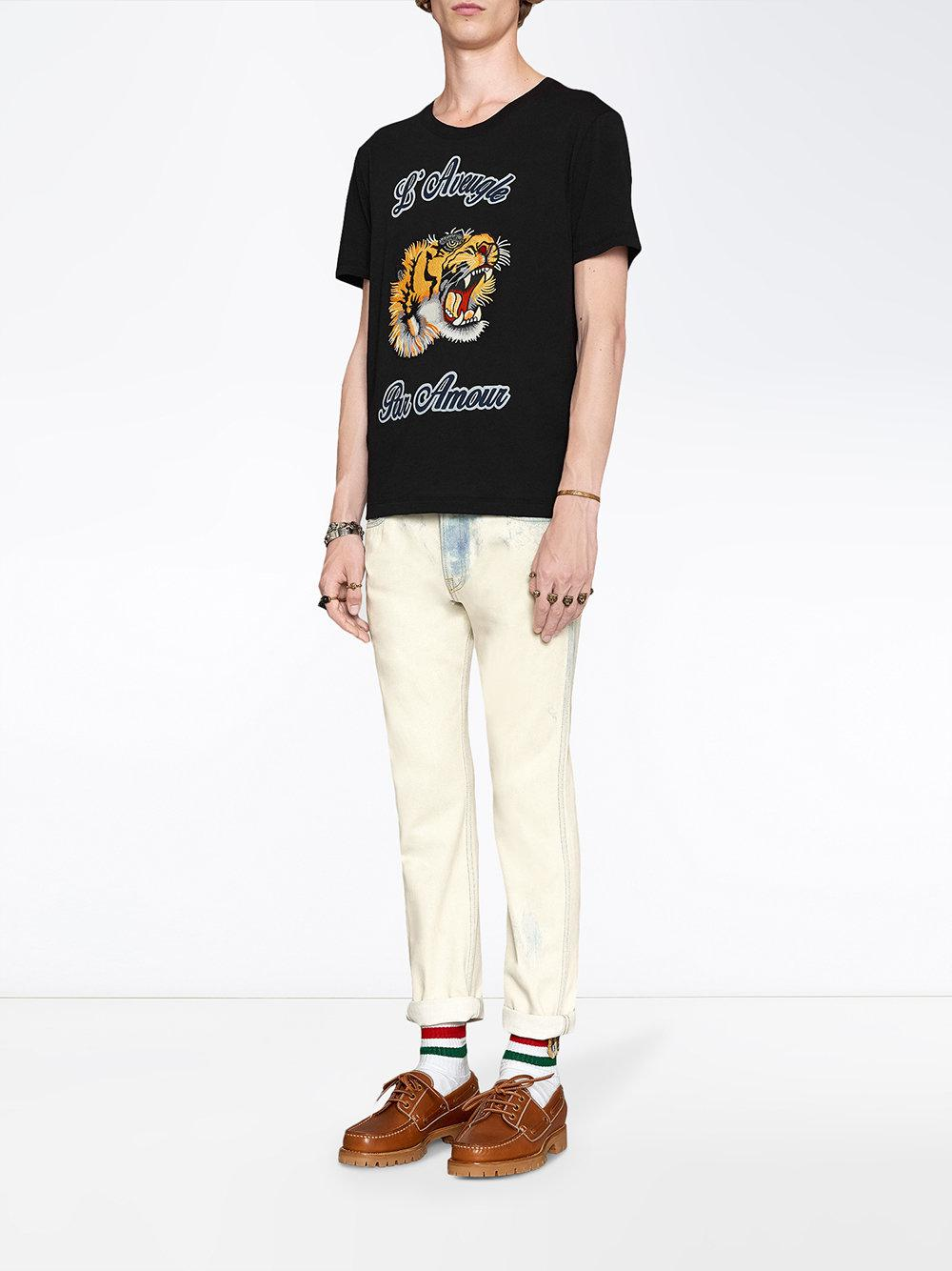 6fb8c81222d2a Gucci Embellished Cotton-jersey T-shirt in Black for Men - Save ...