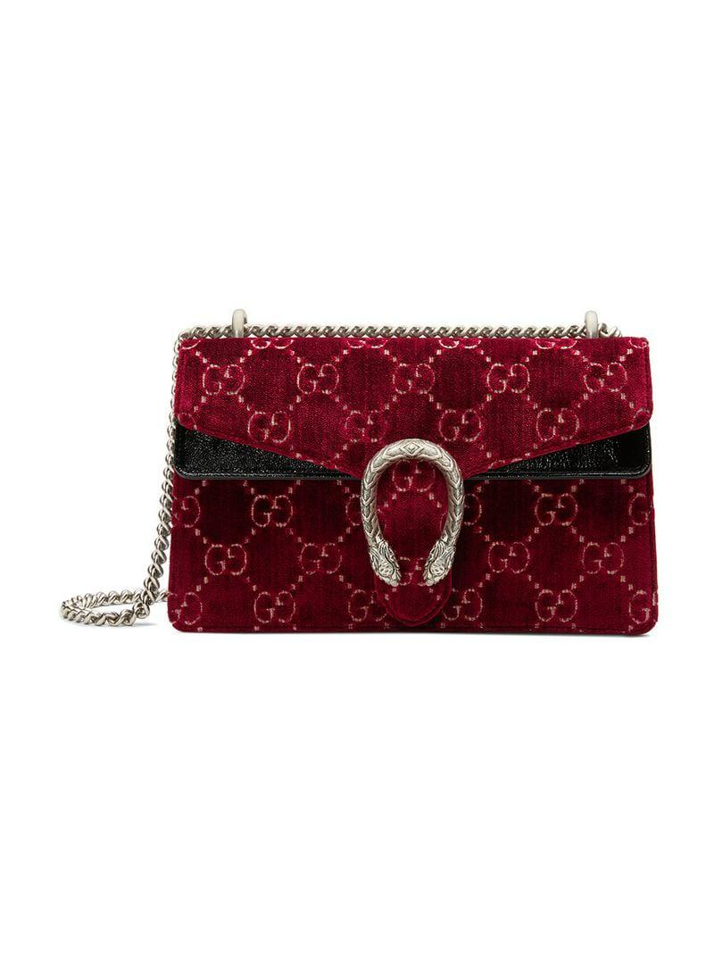 c8eff13cfef Gucci - Red Dionysus GG Velvet Small Shoulder Bag - Lyst. View fullscreen