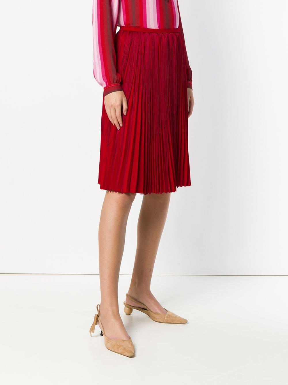 Marco De Vincenzo Fringed Pleated Skirt in Red