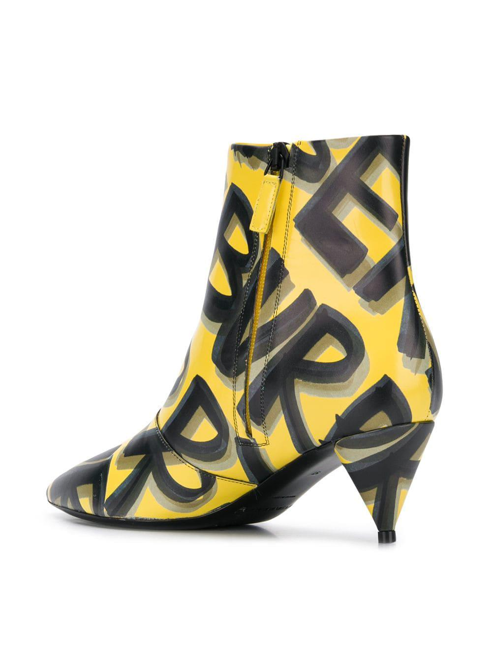 Burberry Graffiti Print Leather Ankle Boots