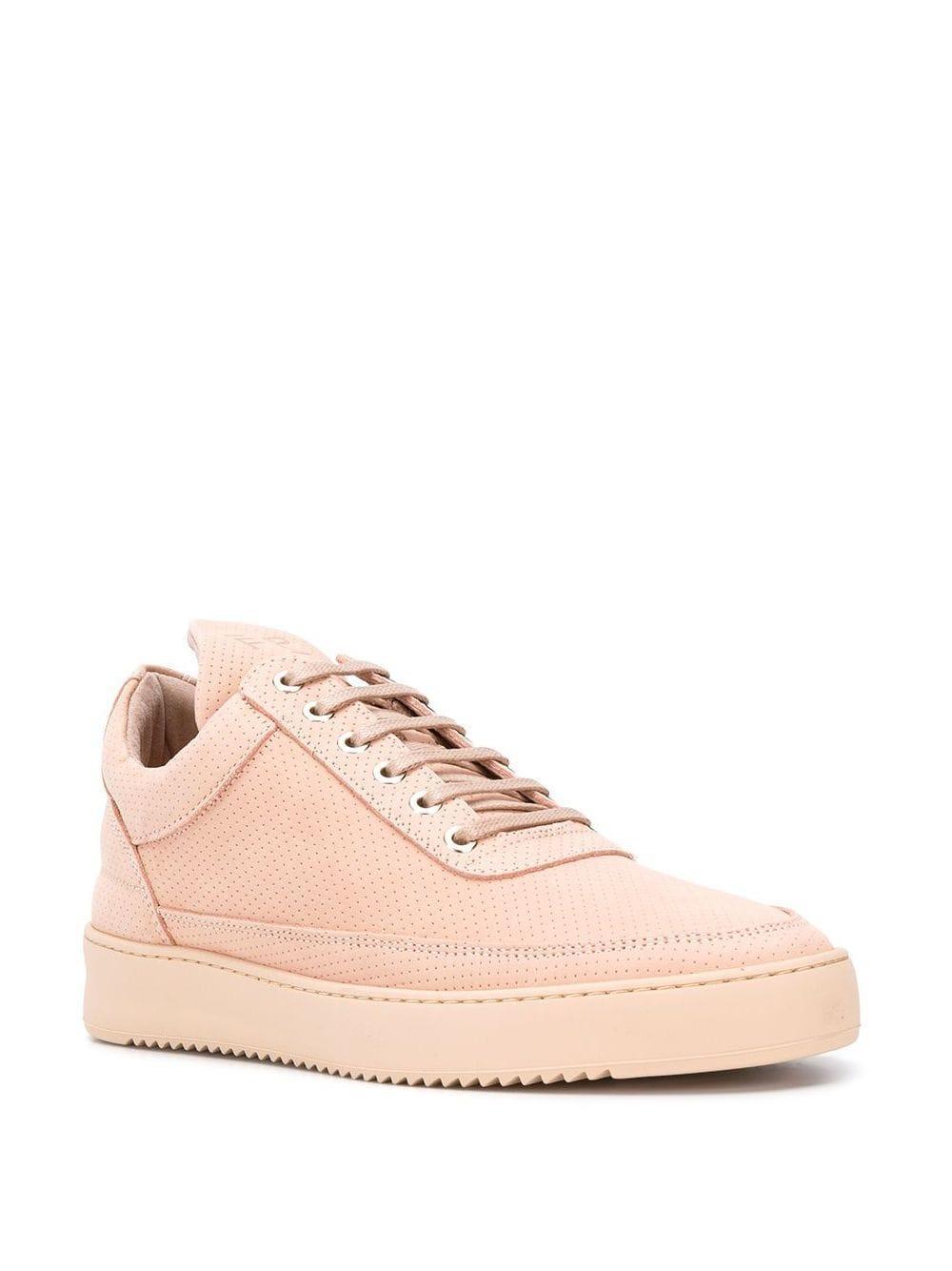 Filling Pieces Leer Geperforeerde Plateau Sneakers in het Roze voor heren