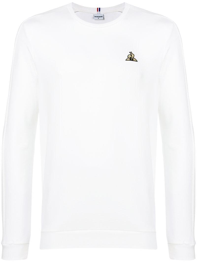 92ae656aa Le Coq Sportif Contrast Logo Jumper in White for Men - Lyst