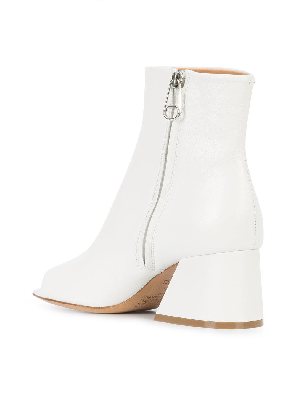 Maison Margiela Leather Open Toe Ankle Boots in White