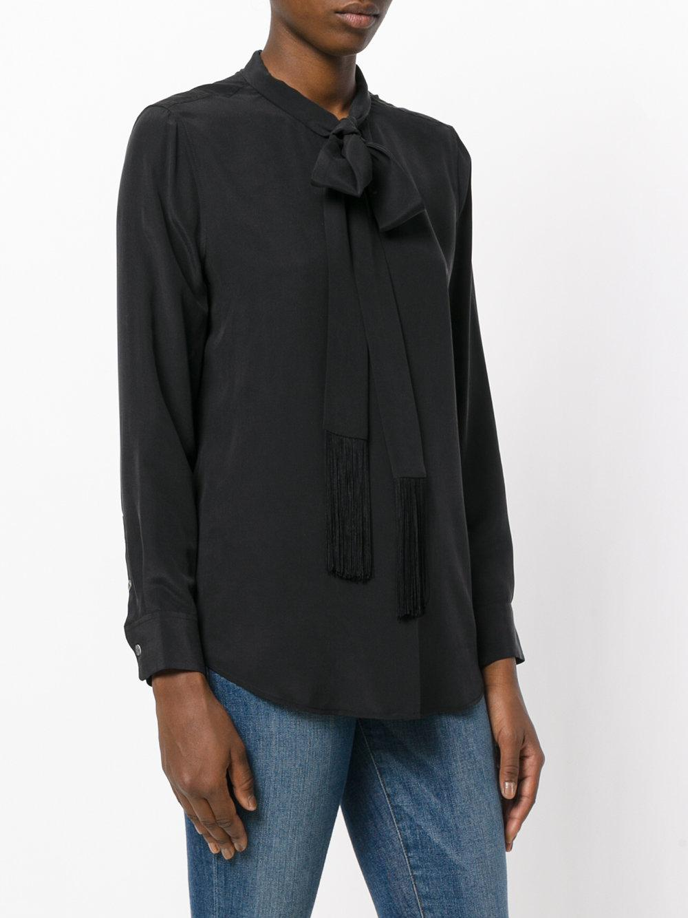 7bb8b351c6302a Lyst - Equipment Tie Neck Blouse With Fringe Detail in Black