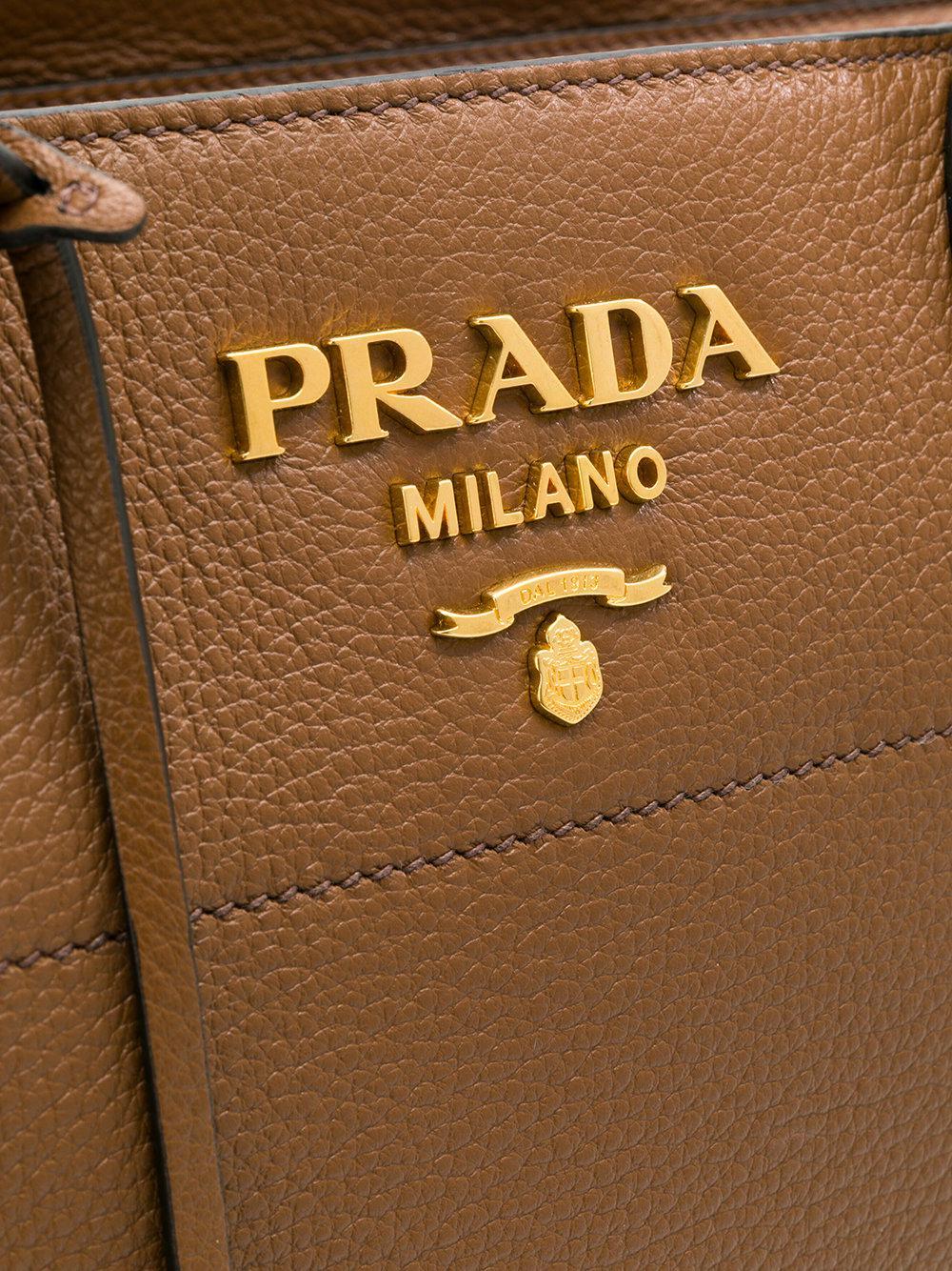 Prada Leather Paradigm Tote in Brown