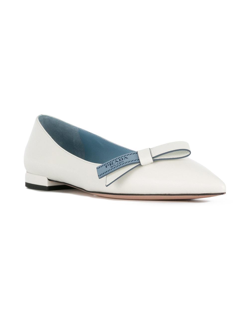 branded bow ballerina shoes - White Prada ZJxFOqd