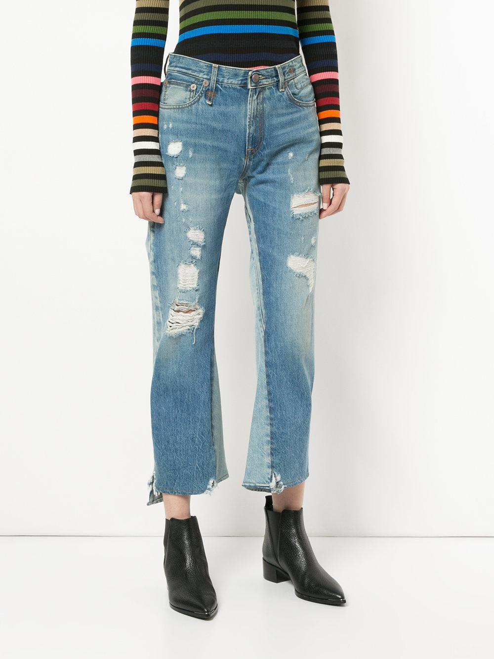 R13 Denim Keaton Double Back Jeans in Blue