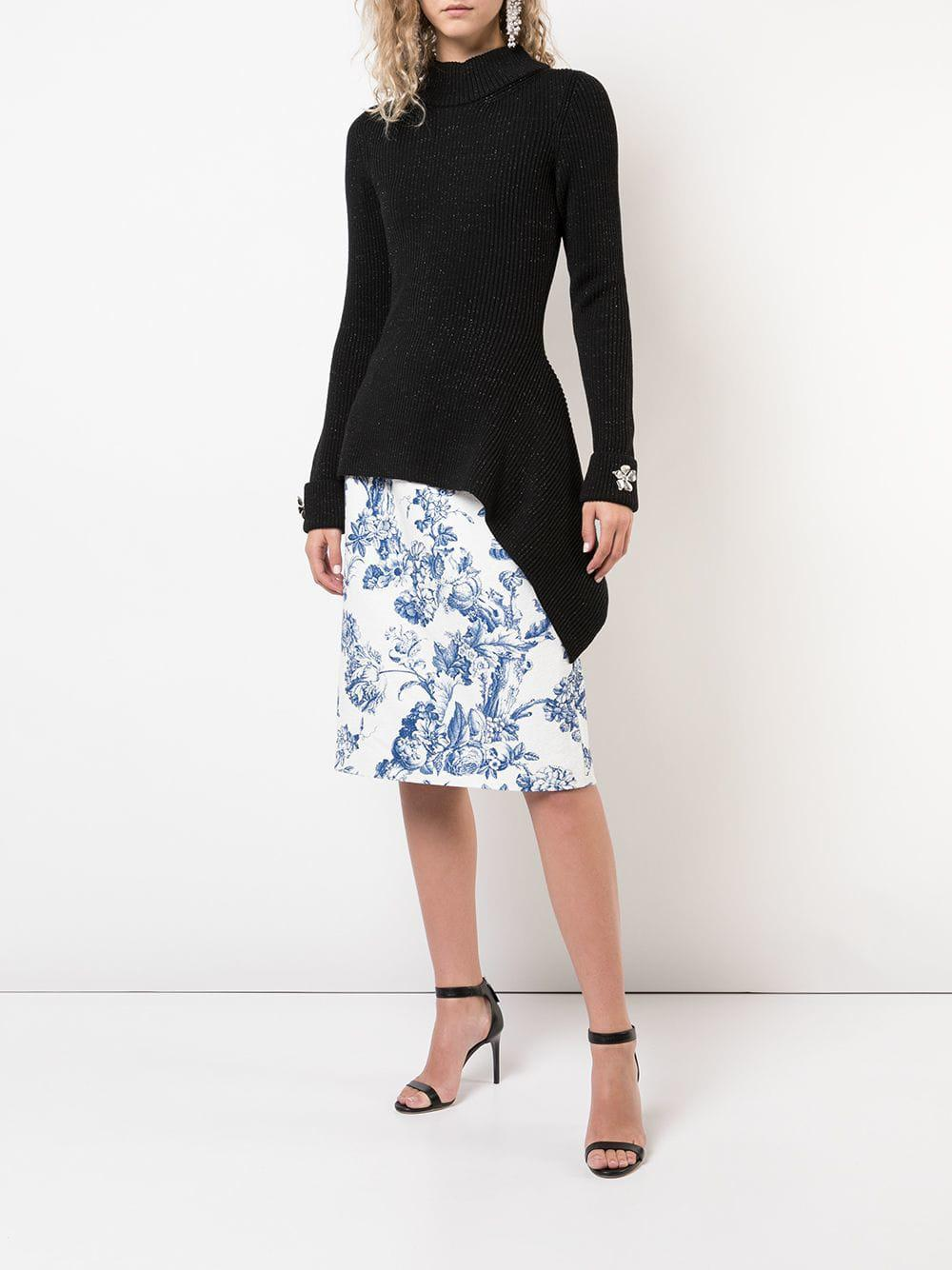 2c2f83dc6f0 Lyst - Oscar de la Renta Floral Print Midi Skirt in White