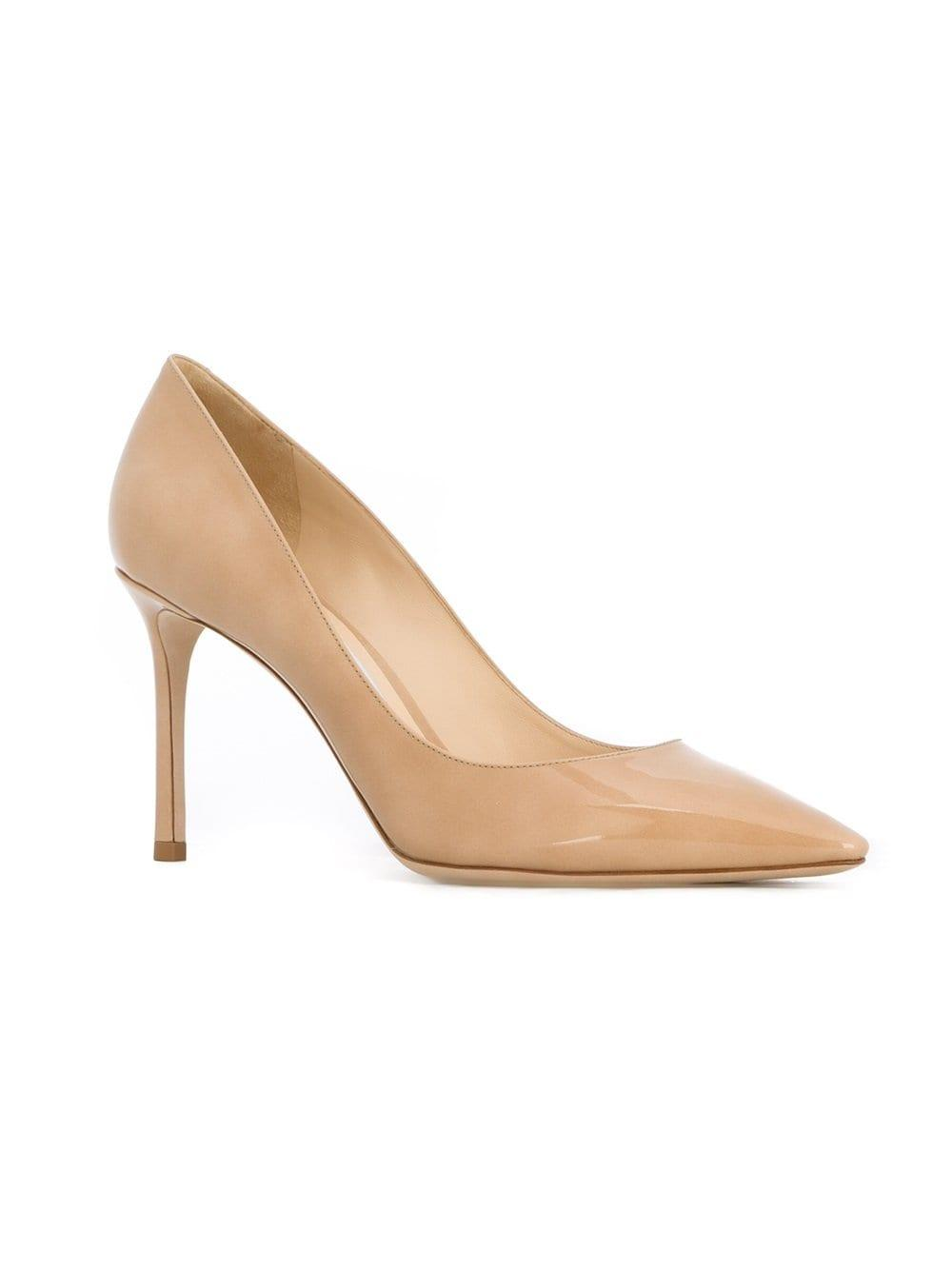 b92d4cb4f240 Lyst - Jimmy Choo Nude Romy 85 Patent Leather Pumps in Natural - Save 30%