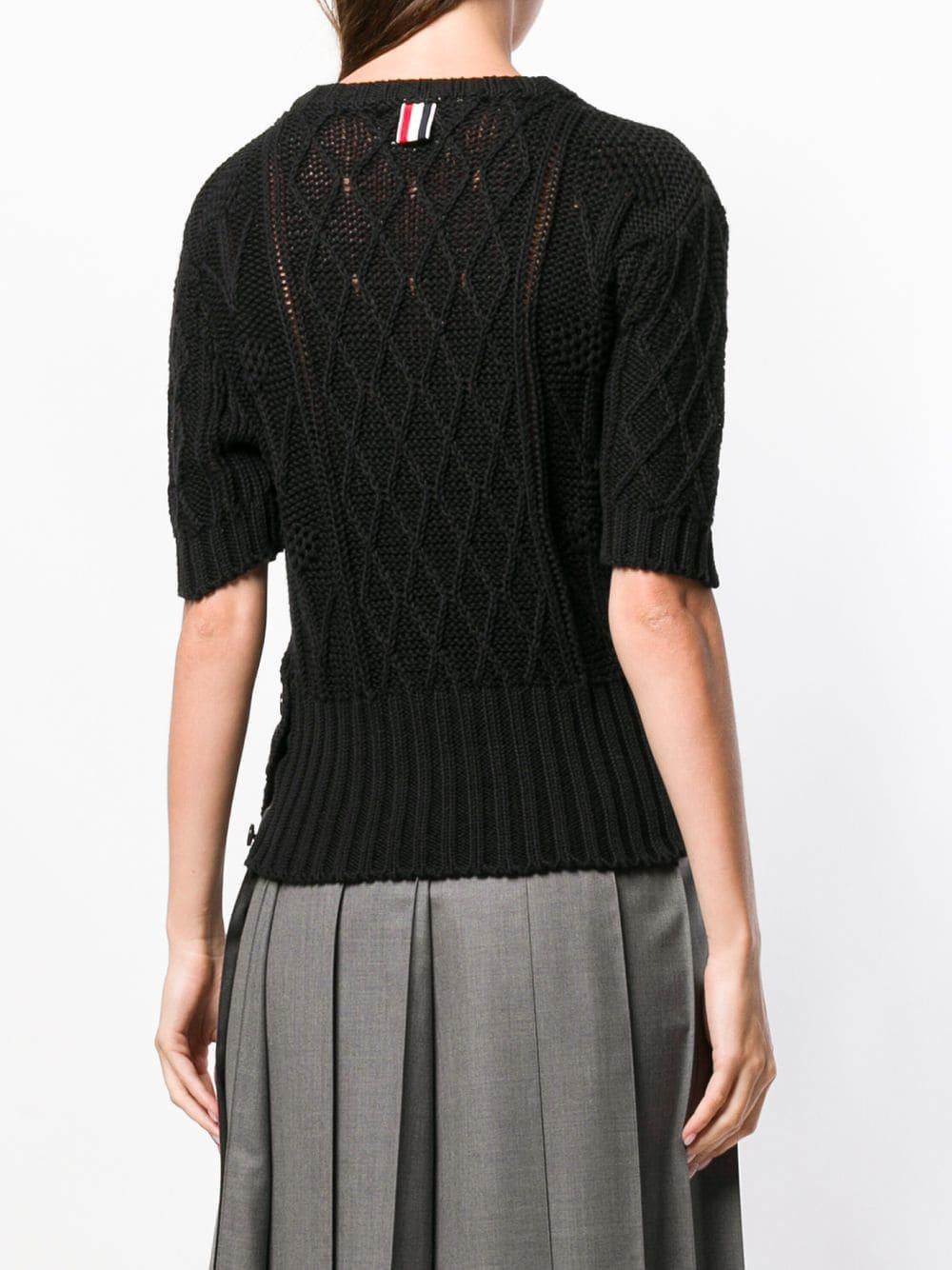 Camiseta con bordado floral y cristales Thom Browne de Algodón de color Negro