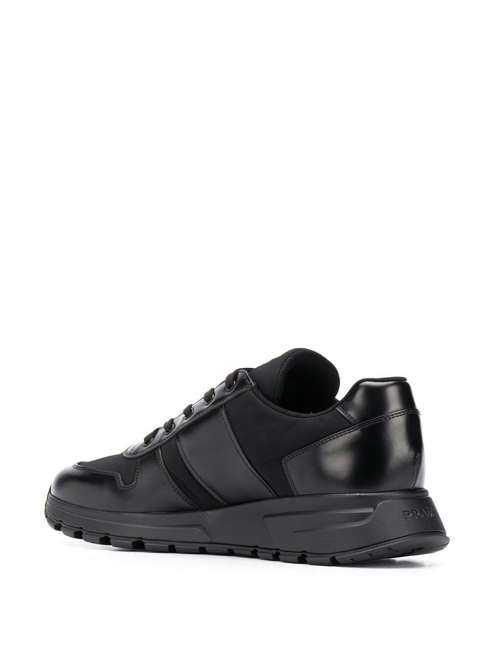 Prada Leer Low-top Sneakers in het Zwart voor heren