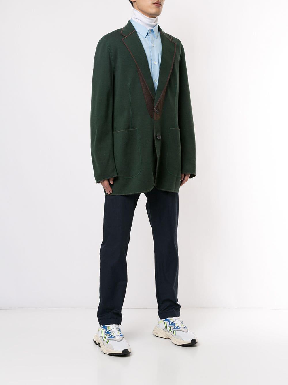 Kolor Wol Blazer Met Enkele Rij Knopen in het Groen voor heren