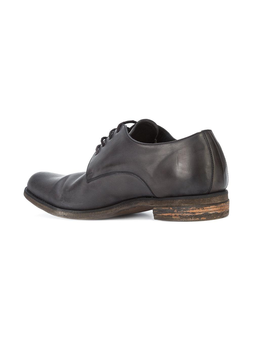 A Diciannoveventitre Leather Distressed Derby Shoes in Black for Men