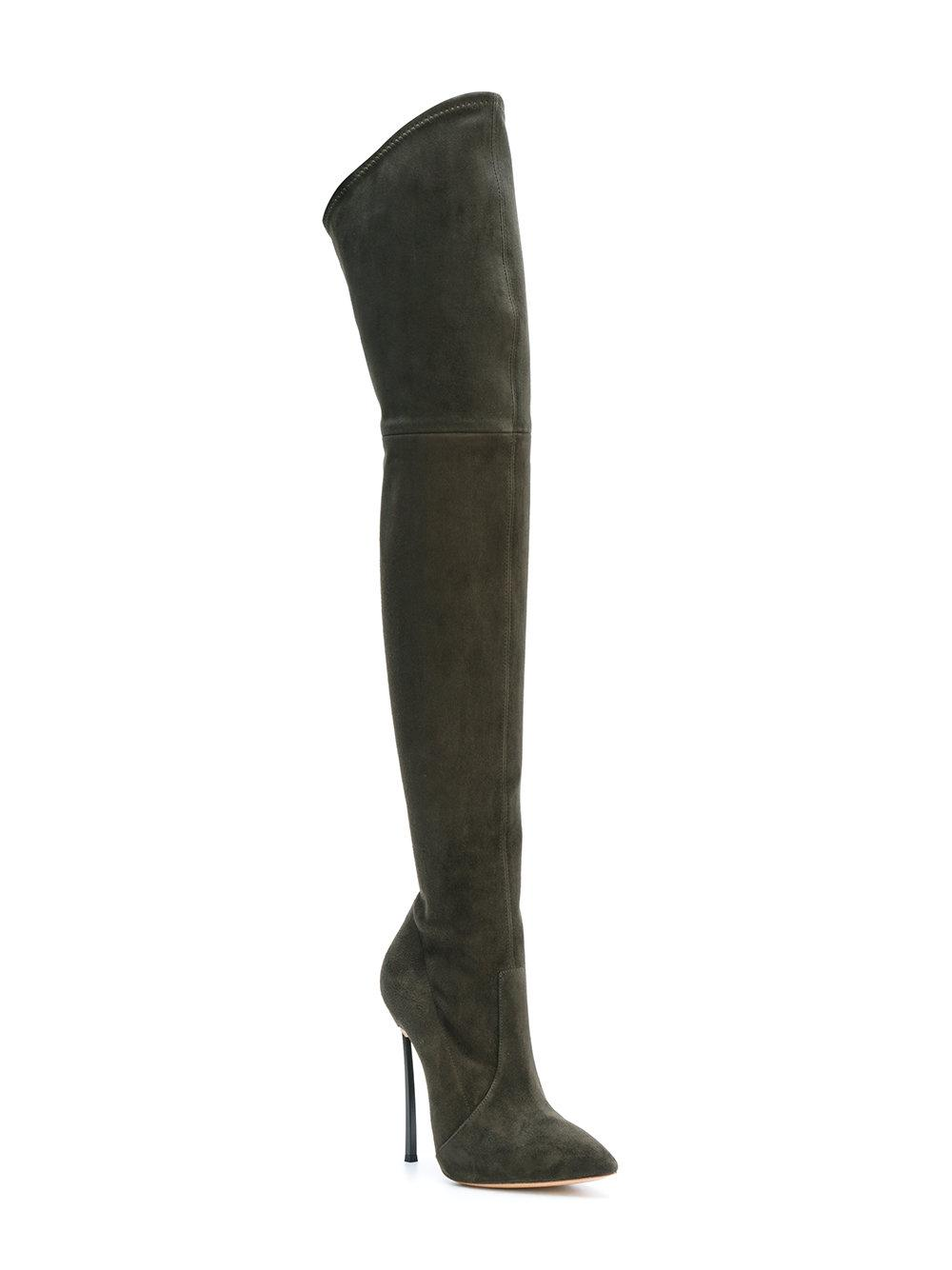 Casadei Suede Over-the-knee Blade Boots in Green