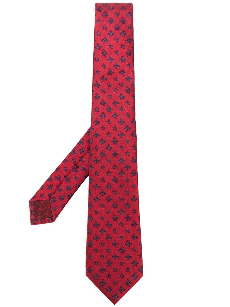 Bee and star-embroidered silk tie Gucci TYbO3