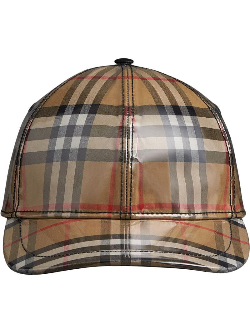 c43fbd769616b3 Burberry Laminated Vintage Check Baseball Cap for Men - Lyst