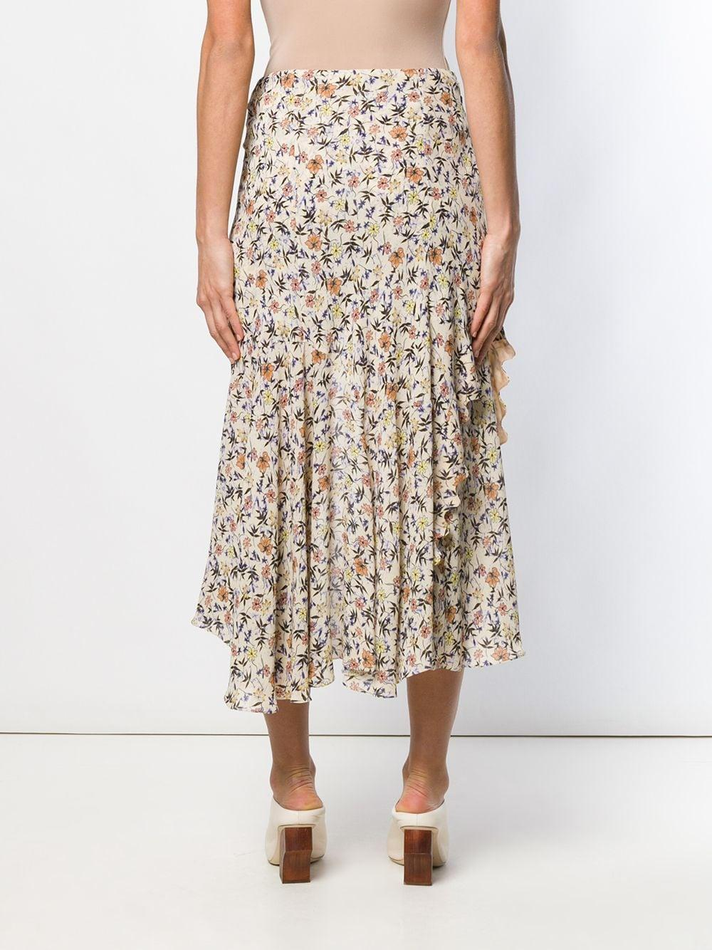 Falda asimétrica con estampado floral Chloé de Tejido sintético de color Marrón