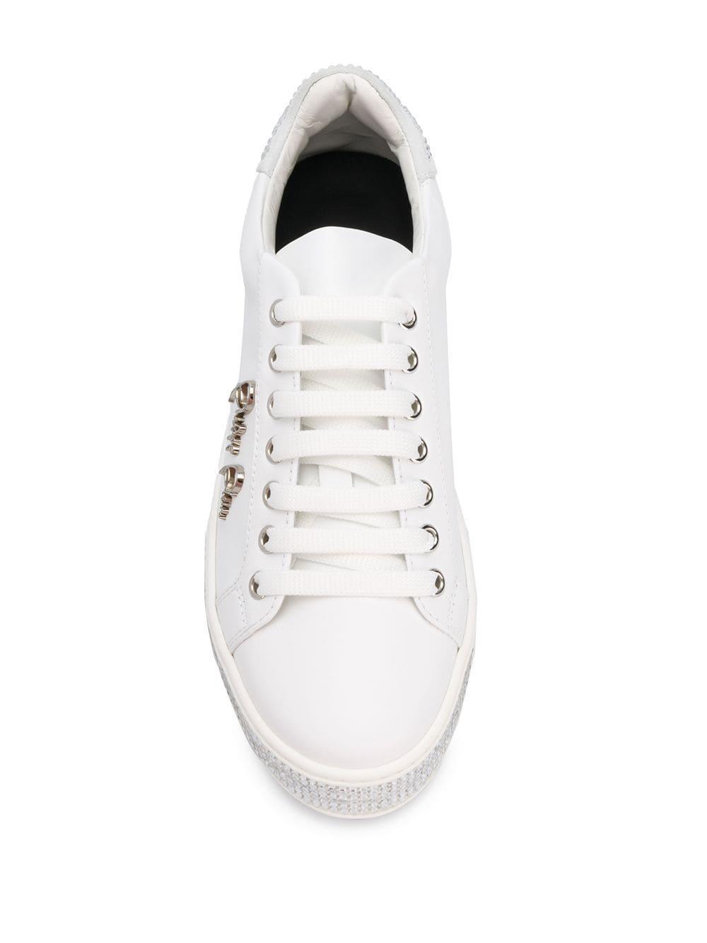 Zapatillas bajas con detalles de cristal Philipp Plein de Cuero de color Blanco