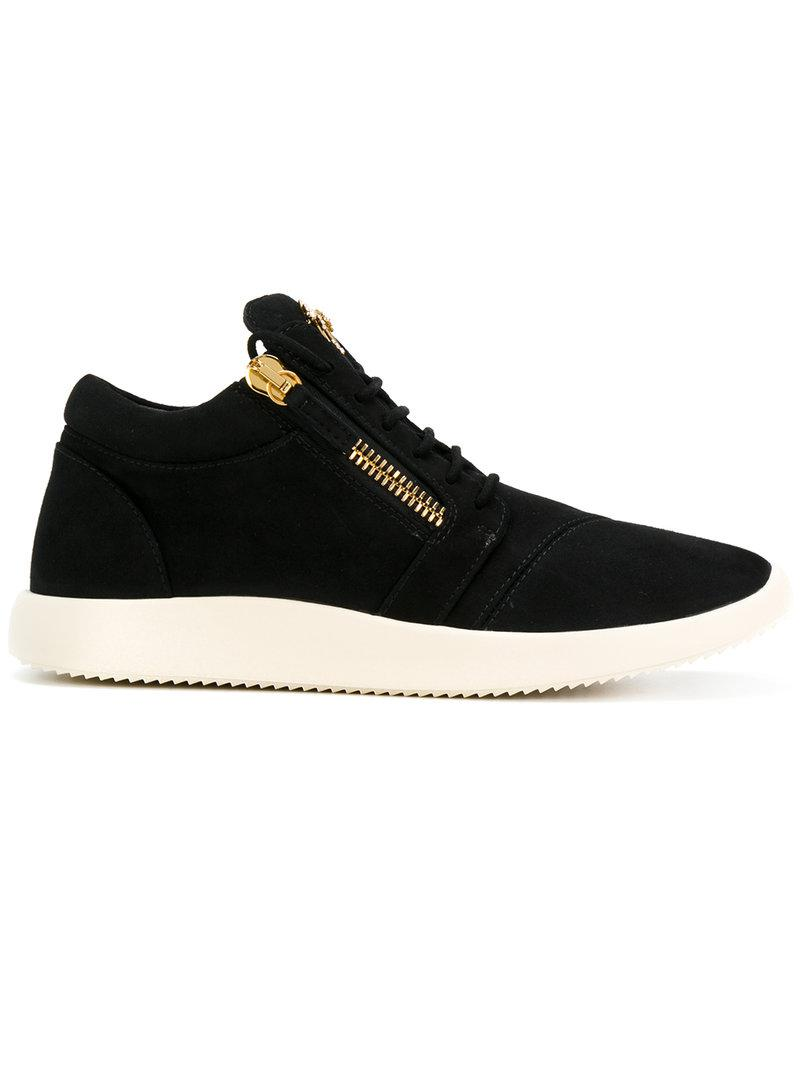 1017 Best Mid Century Architecture A Go Go Images On: Giuseppe Zanotti Suede Runner Mid-top Sneakers In Black