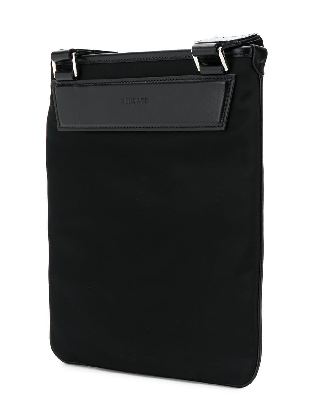 Versace Leather Medusa Zipped Messenger Bag In Black For