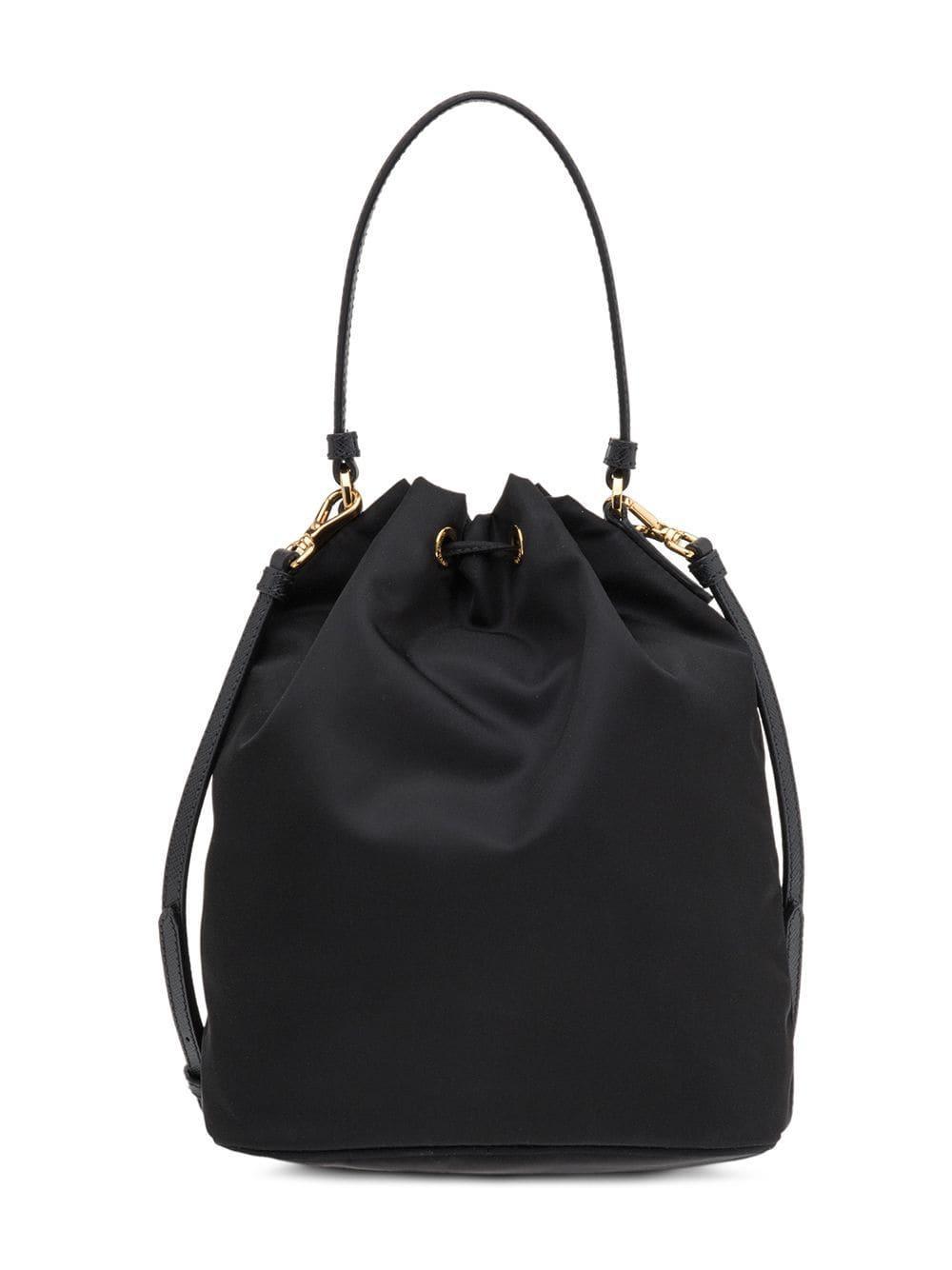 1f29cf7460ff Prada Black Fabric Bucket Bag in Black - Lyst
