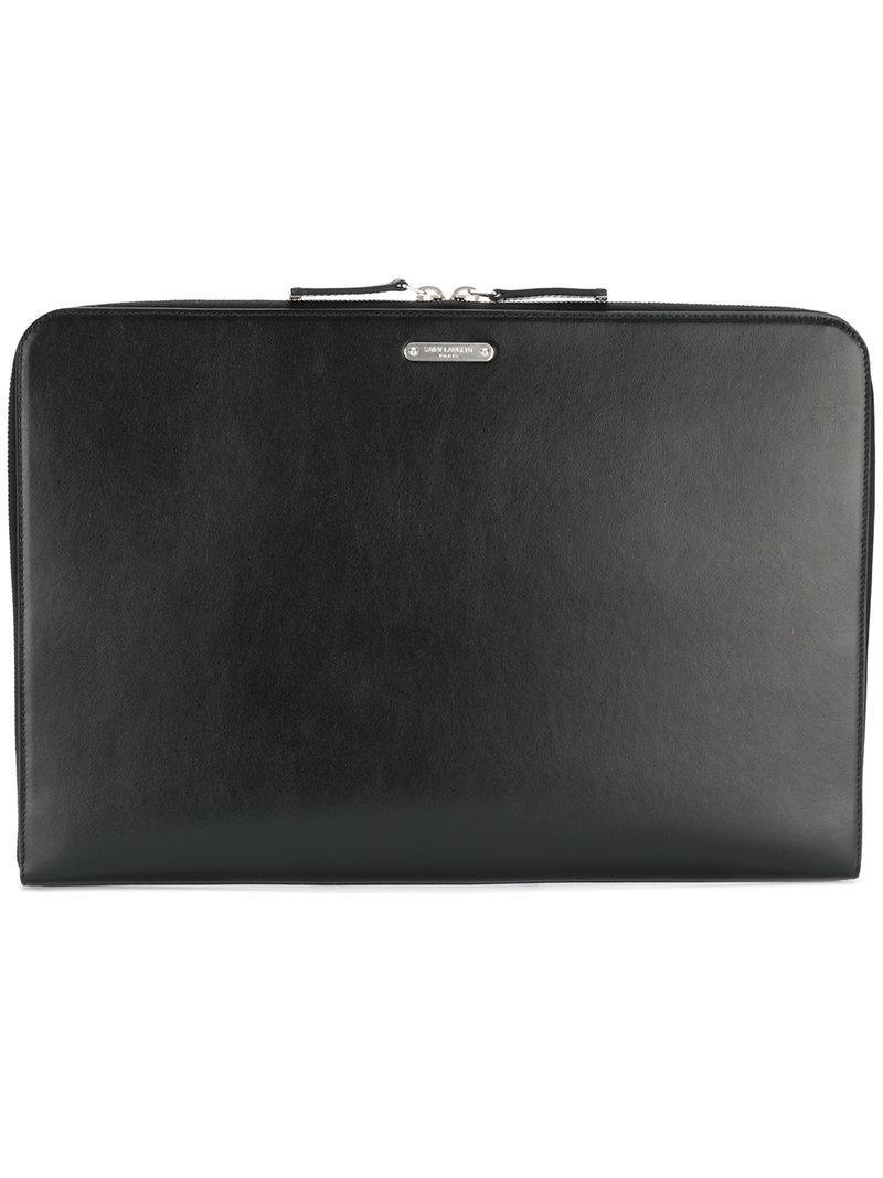fa248893fe19 Saint Laurent Id Zipped Laptop Pouch in Black for Men - Lyst