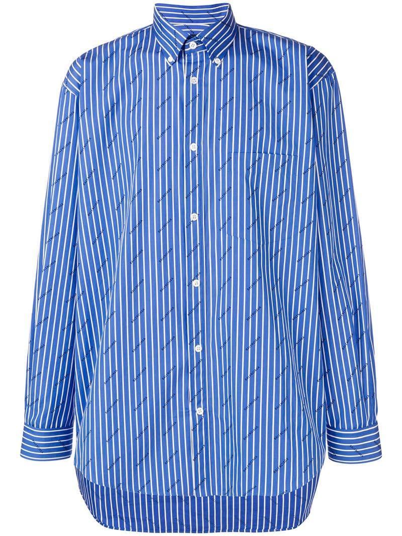 bcc7c5f4 Balenciaga Striped Logo Shirt in Blue for Men - Lyst