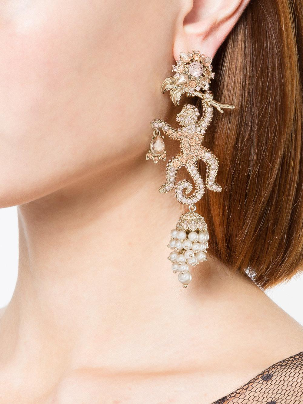 Marchesa jewel encrusted lizard earrings - Metallic 5jUvMGQ