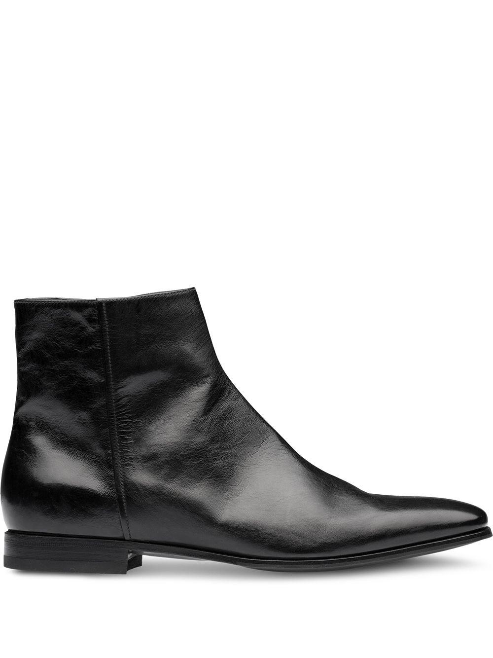 Prada Leather Zipped Ankle Boots in