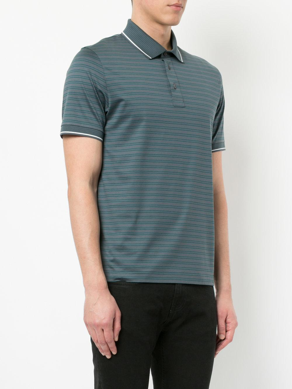 36b12db8 Cerruti 1881 - Gray Striped Polo Shirt for Men - Lyst. View fullscreen
