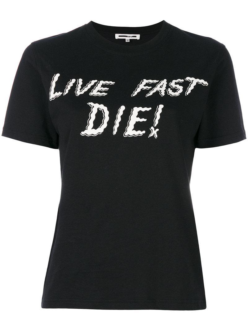 Lyst mcq alexander mcqueen live fast die print t shirt for Quick t shirt printing