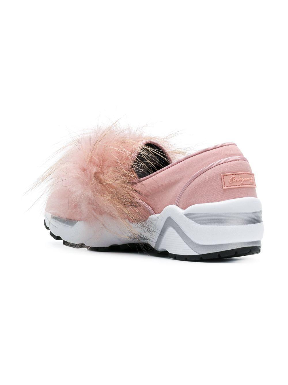 Suecomma Bonnie Neoprene Pink Real Fur Trim Slip-on Sneakers