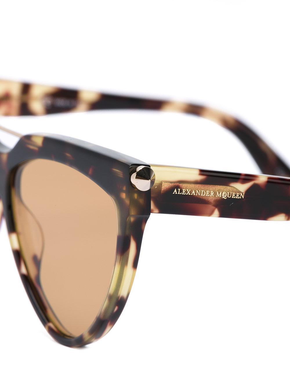 Alexander McQueen Teardrop Aviator Sunglasses in Brown
