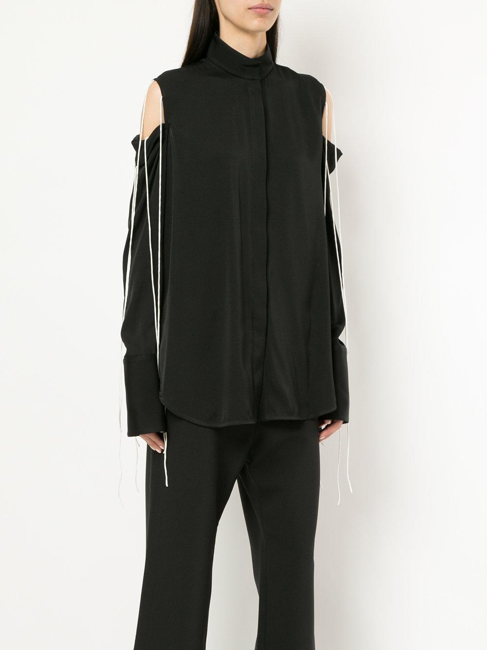 Ellery Silk Cut-out Shoulder Shirt in Black