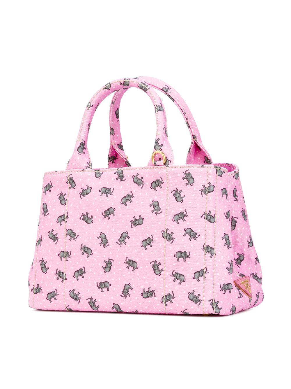 04eb4ae73b Prada - Elephants Print Tote - Women - Cotton - One Size in Pink - Lyst
