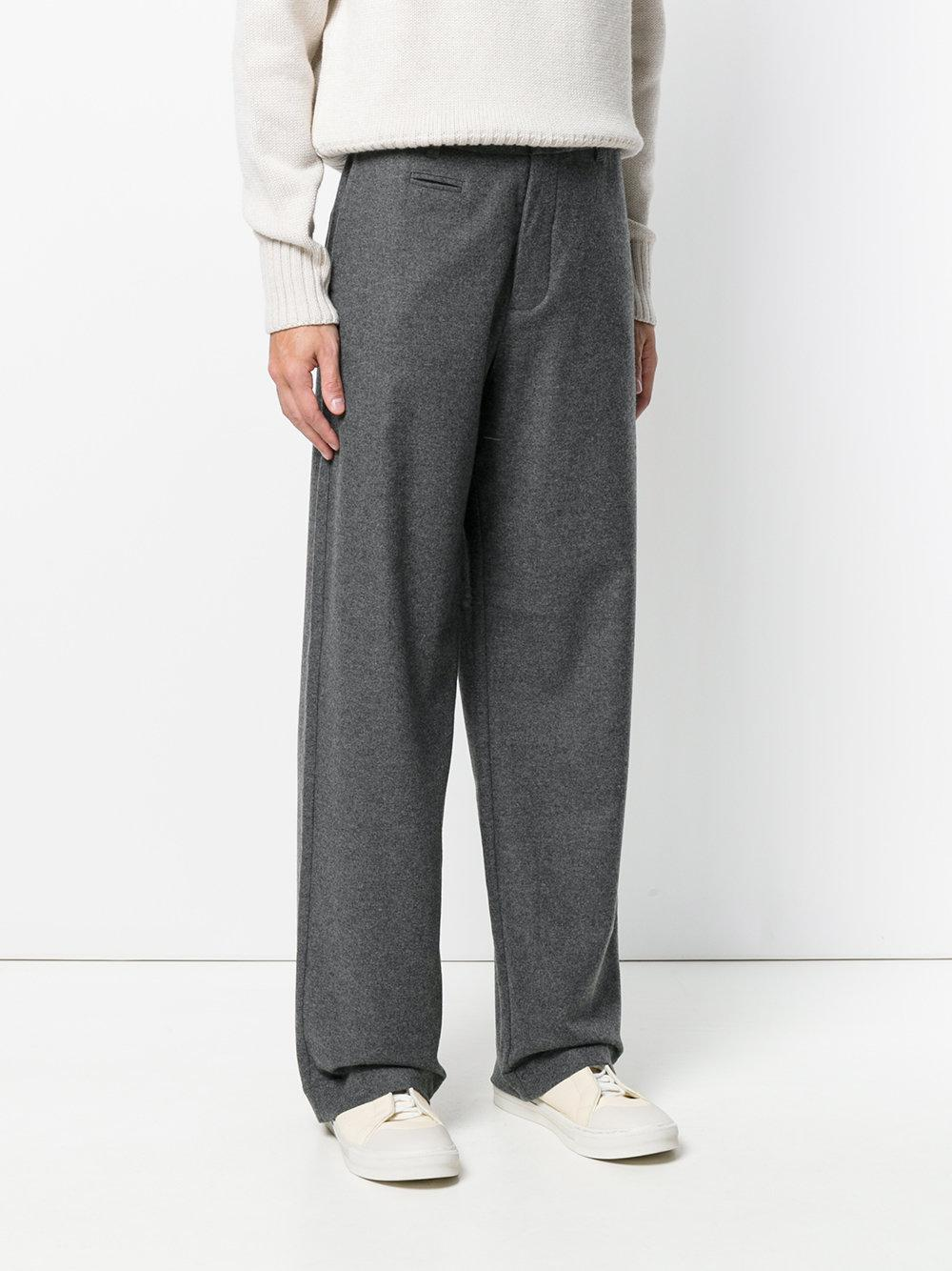 YMC Wool Wide Leg Trousers in Grey (Grey) for Men