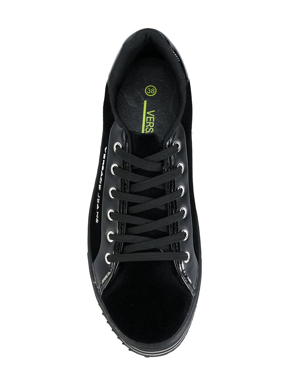 Versace Jeans Couture Cotton Platform Lace Up Sneakers in Black