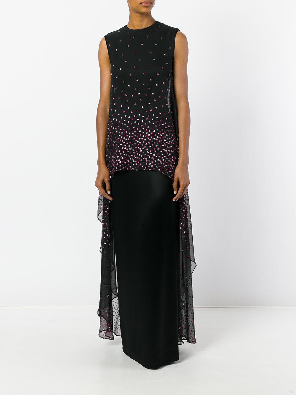 Talbot Runhof Silk Embellished Maxi Dress in Black