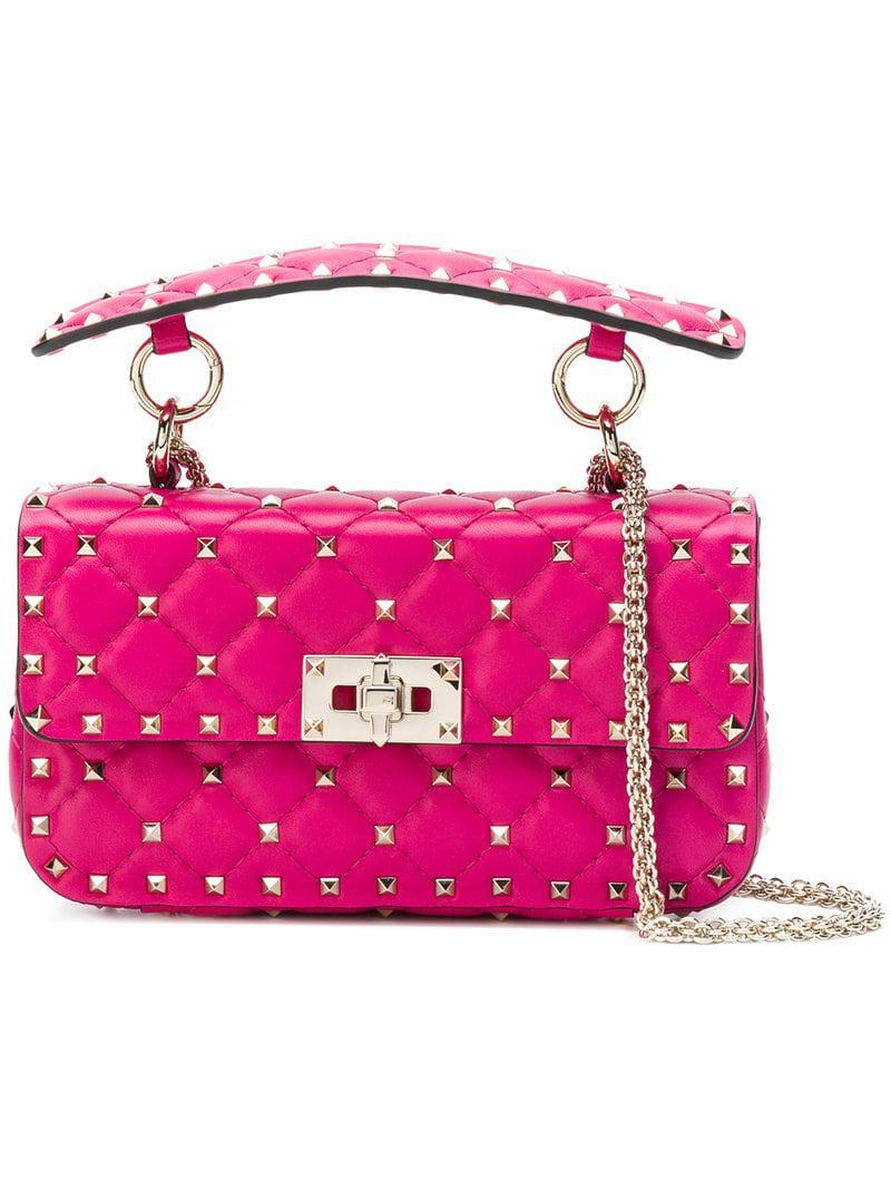 b87d9267ac1 Lyst - Valentino Garavani Rockstud Spike Shoulder Bag in Pink