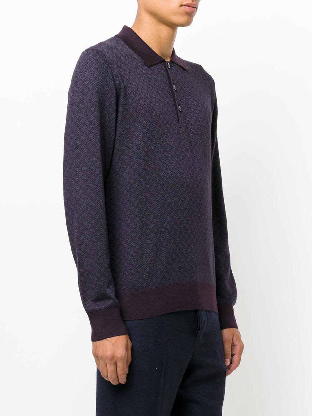 Lyst brioni long sleeve polo shirt in blue for men for Long sleeve purple polo shirt