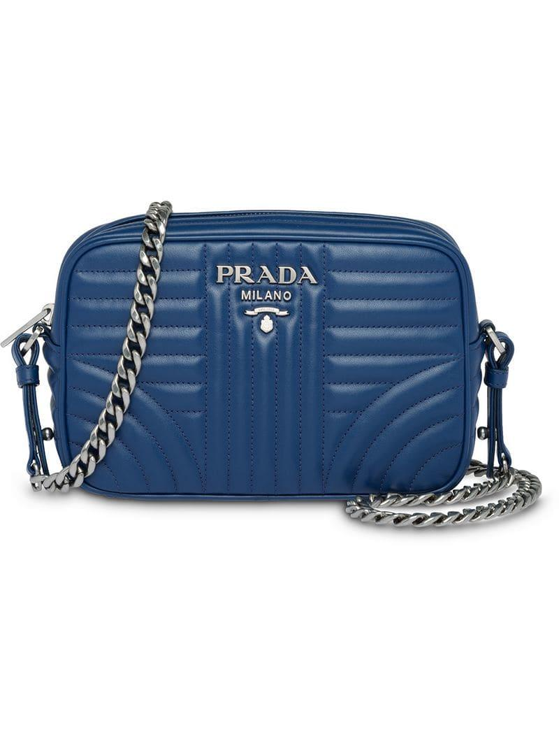 c80afbdb1ca814 Prada - Blue Diagramme Crossbody Bag - Lyst. View fullscreen