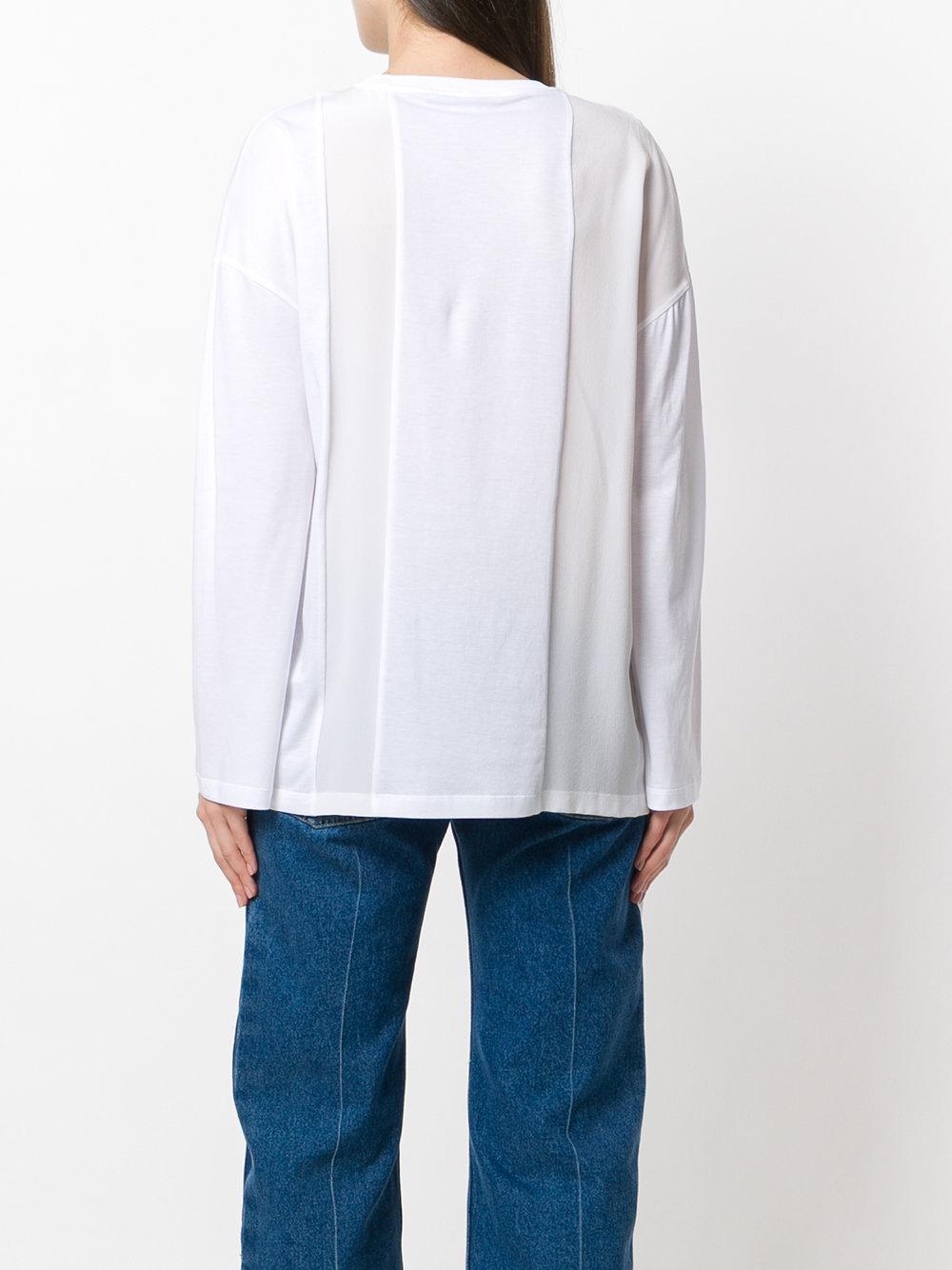 Pull à empiècement asymétrique Coton Stella McCartney en coloris Blanc