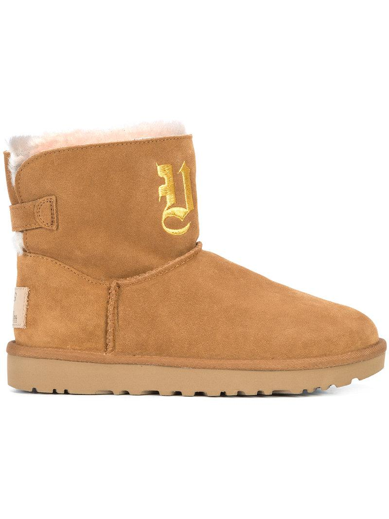 Jeremy Scott. Women's Brown Ugg Life Embroidered Mini Boots