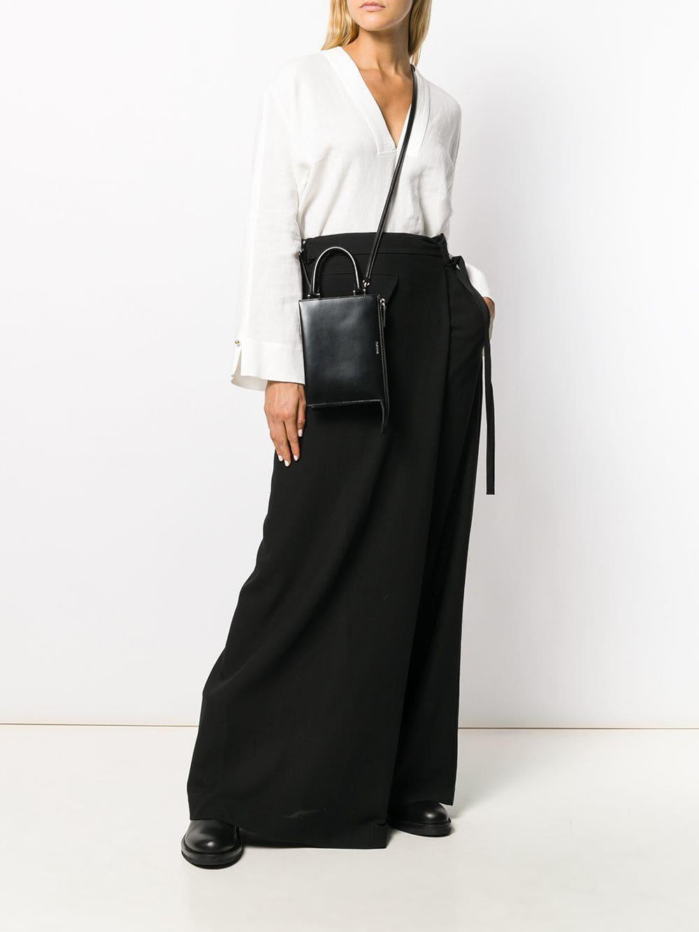 Jil Sander Leather Shopping Crossbody Bag in Black
