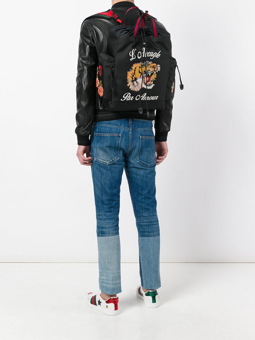 Gucci L Aveugle Par Amour Backpack In Black For Men Lyst