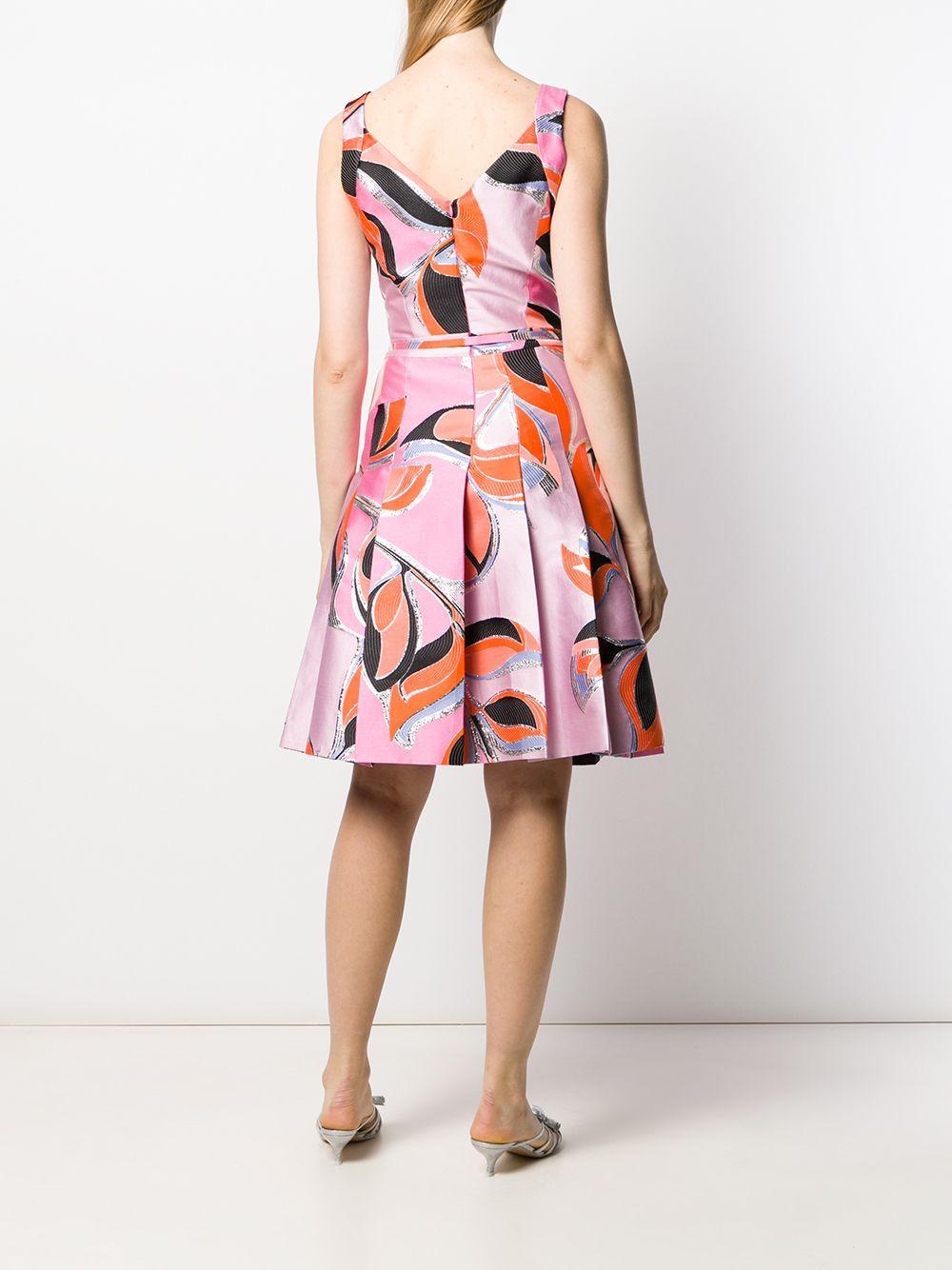 Vestido plisado con estampado geométrico Emilio Pucci de Seda de color Rosa