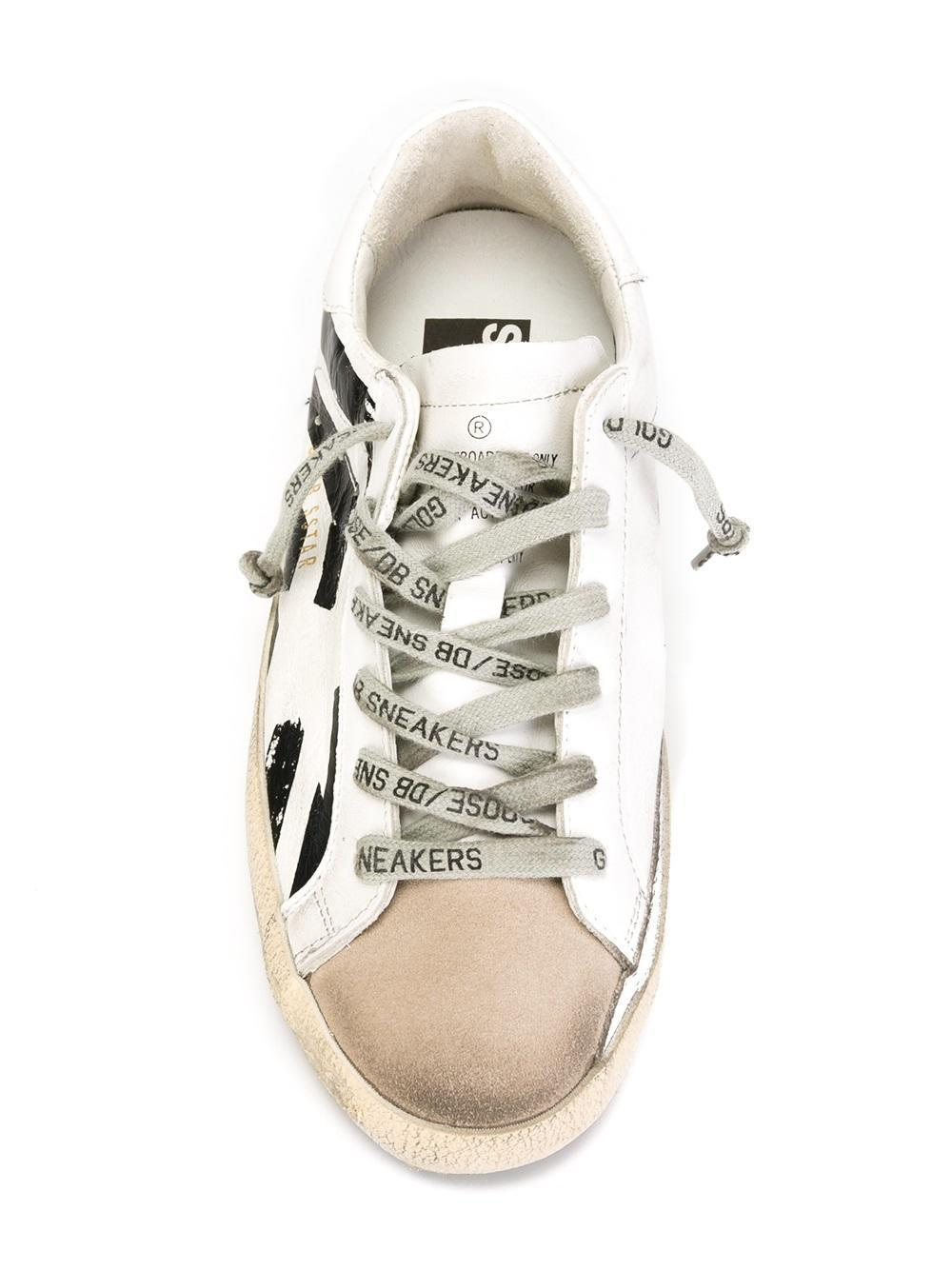 Golden Goose Deluxe Brand Superstar Striped Leather Sneakers in White
